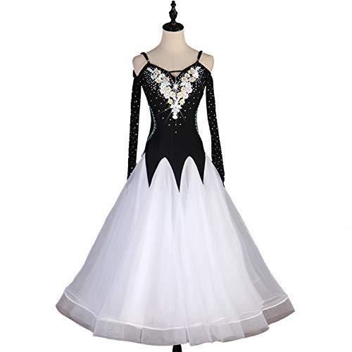 Weiß Dance Modern Kostüm - DSDBWQ Modern Dance Rock für Frauen Gesellschaftstanz Waltz Performance Competition Kleider Tango Dance Kostüm,Weiß,M