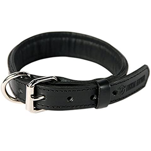 Logical Leather Padded Dog Collar - Full Grain Heavy Duty Leather Collar - Black- Medium