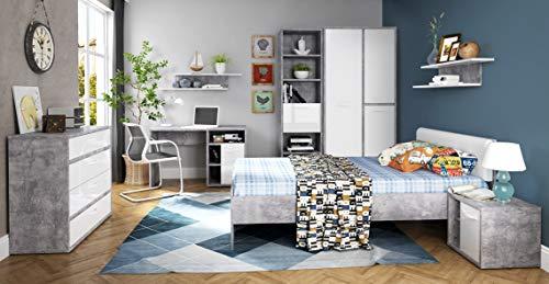 möbel-direkt Jugendzimmer Canmore in Grau Vintage und Weiß Hochglanz 8 teiliges Megaset mit 3türigem Kleiderschrank, 120er Bett, Nachttisch, Kommode, Schreibtisch und Regalen