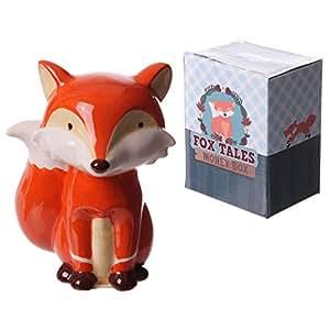 Puckator FOX01 Tirelire Design Renard Assis Céramique Orange/Blanc/Beige