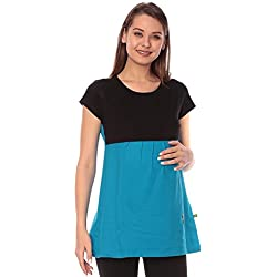 Goldstroms women's Round Neck Maternity/Feeding/Nursing Tshirt/Top/Tee (Medium, Turqoise)