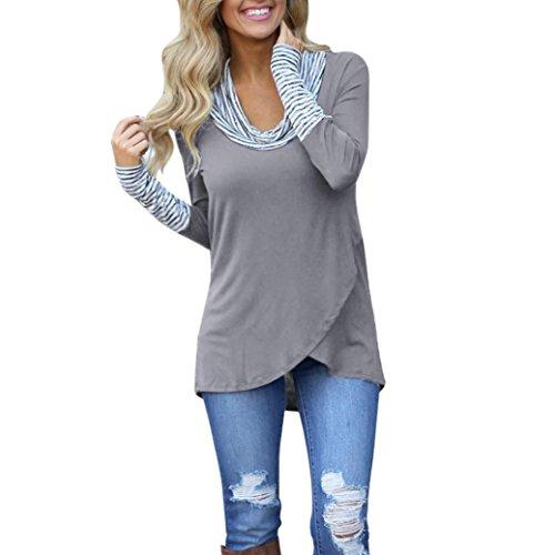 VEMOW Heiße verkaufende Damen-Frauen-Sommer-Herbst-beiläufiger Oansatz Streifen-Langes Hülsen-Sweatshirt-Pullover übersteigt Blusen-HemdGrauEU-40/CN-S (Baumwoll-stretch-seersucker)