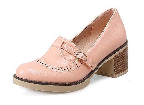 AgooLar Femme Couleur Unie Pu Cuir à Talon Correct Rond Boucle Chaussures Légeres Rose