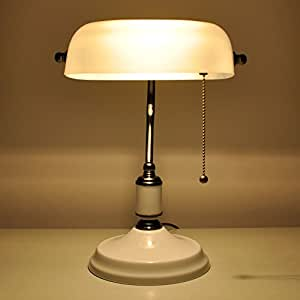 Desk Lamp / Bankers Lamp / Office Lamp White Glass Shade, Pull ...