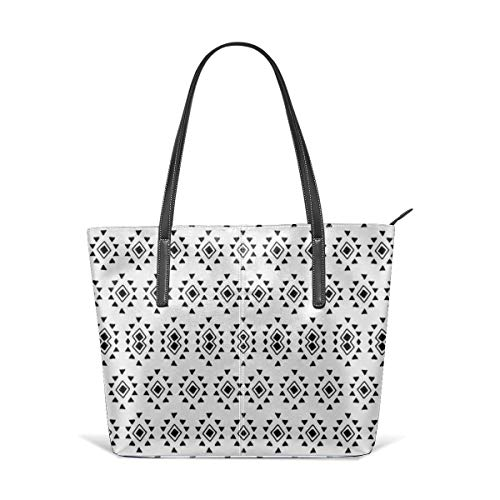 Geometric Aztec Tribal Pattern (Black and White) Satchel Purses and Handbags Handtaschen Leather Tote Bags Satchel Top Shoulder Leisure Handbags Handtaschen Office Briefcase Tote