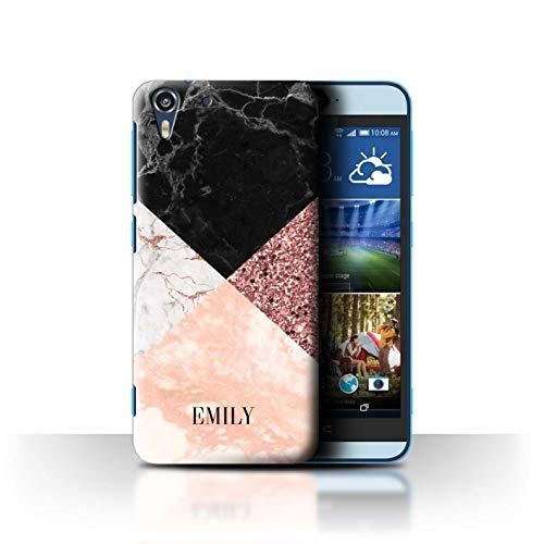 eSwish Personalisiert Individuell Geometrischer Marmor Glitter Hülle für HTC Desire Eye LTE/Bling Moderne Mode Design/Initiale/Name/Text Schutzhülle/Case/Etui