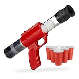 Relaxdays- Pistola Juguete de Bolas con 5 Pelotas de 3 cm para Beer Pong, Rojo, 12,5 x 5 cm x 29-38 cm, Color (10023516)