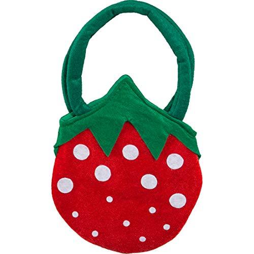 Amakando Erdbeer-Tasche für Mädchen & Frauen / 23 x 20 cm / Niedliches Märchen-Kostüm Zubehör / Ideal zu Kinder-Fasching & - Niedliche Märchen Kostüm Frauen