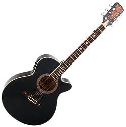 Rocktile Empire CF-6000FM Westerngitarre schwarz (Small Jumbo Form mit Cutaway, eingebauter Piezo Tonabnehmer mit Equalizer, Decke: Linde, Boden & Zarge: Linde, Hals: Fichte)