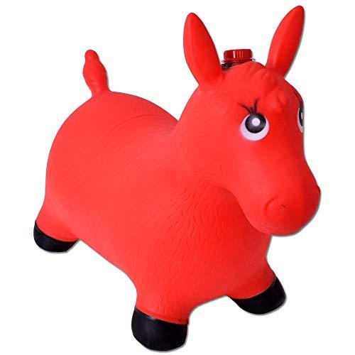 TE-Trend Springpferd Hüpftier Pferdesound Pumpe Hüpfpferd 50kg belastbar Rot B-Ware