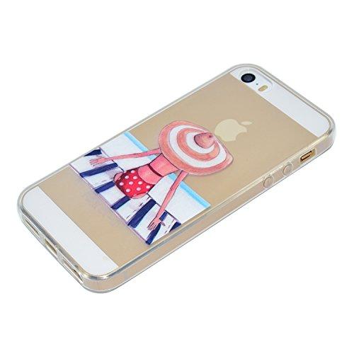 iPhone SE 5 5S Hülle, iPhone SE 5 5S Weiche flexible Silikon-Handy-Hülle ,Cozy Hut iPhone SE 5 5S Schutzhülle Case Silikon- Crystal Clear Ultra Dünn Durchsichtige Backcover Handyhülle TPU Case für iPh Schwimmen Mädchen