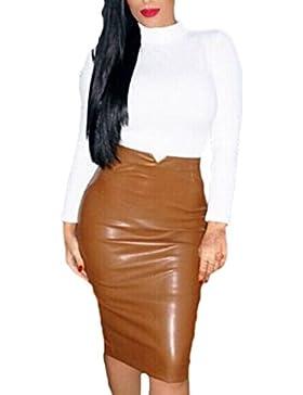 La Mujer Elegante De Alta Cintura Acanalada Falda Bodycon Office Lady PU
