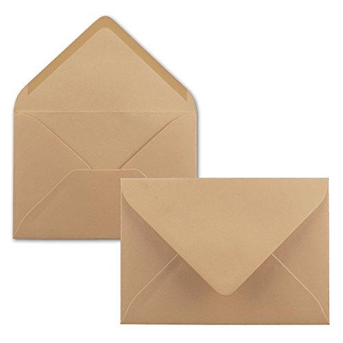 100 Brief-Umschläge - Karamell-Braun - DIN C6-114 x 162 mm - Kuverts mit Nassklebung ohne Fenster für Gruß-Karten & Einladungen - Serie FarbenFroh®