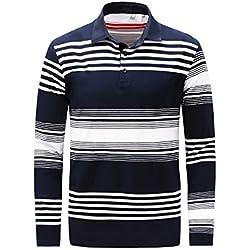 Nimpansa Polo A Rayas Comfortsoft T Shirts Casual Hombres Camiseta De Manga Larga Blanco XL