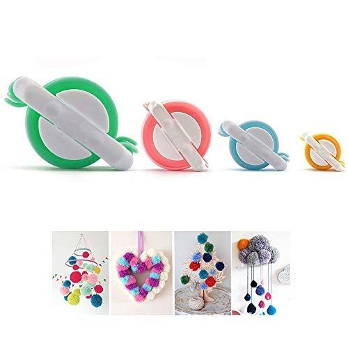 Lezed Pompon Maker,4 Größen Herstellungs-Set,DIY geflochtene, Strick Handwerk Werkzeuge,Weben Werkzeuge,Sie können alle Arten von Fluff Ball machen.