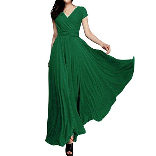 Yanhoo Mode Frauen Feste Chiffon V-Ausschnitt Langes Kleid Strand Häkeln Vintage Floral Bodycon Sleeveless Beiläufiges Abend Partei Abschlussball Schwingen (M, Grün)
