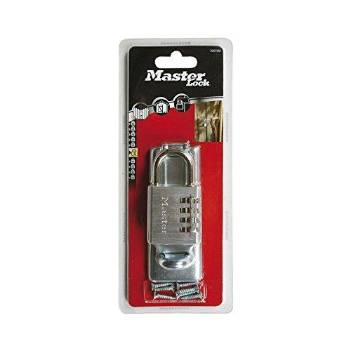 Masterlock 7640704EURD Portacandado y Candado de combinación, Plateado, 40 mm