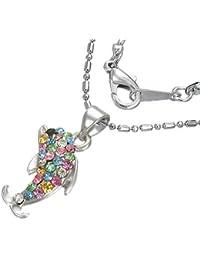Mode Kristall Delfin Charm Halskette mit Zirkon & Schmucksteinen - Bunt