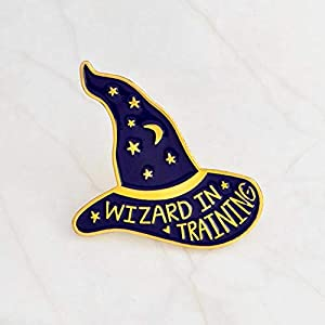 Ancjiape Praised Personality Witch Magic Wizard Hat Brooch Star Moon Juwel