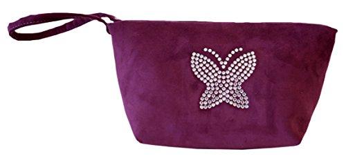 Borsa Donna, Pikla Beauty/ Sachet Bag (Beauty/bustina) in camoscio con logo in strass. Chiusura con cerniera che diventa manico. Fodera interna . Made in Italy. Viola