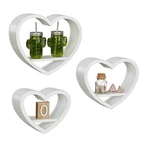 Relaxdays Wandregal Herz 3er Set, romantische Dekoregale in Herzform, schwebende Wandablagen bis 6 kg belastbar, weiß
