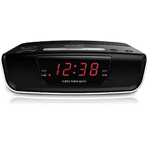 Philips AJ3123 Radio Réveil avec Tuner FM Numérique, Configuration Facile, Double Alarme, Batterie de Secours, Noir