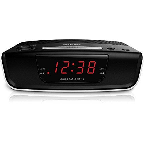 Philips AJ3123/12 - Radio despertador (sintonizador FM, temporizador y alarma dual), color negro