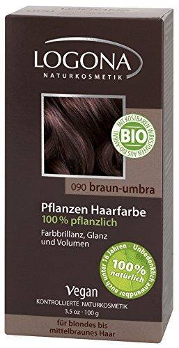 LOGONA Naturkosmetik Coloration Pflanzenhaarfarbe, Pulver - 090 Braun-Umbra - Braun, Natürliche & pflegende Haarfärbung (100g)