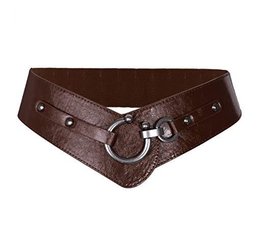 TY belt Frauen Damen Ledergürtel Mode Runde Haken Design Breite Hüfrgürtel Elastische Gürtel (Koffee)