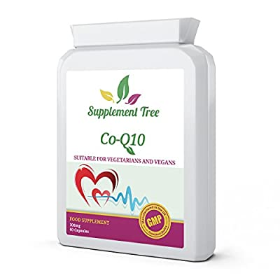 Co Enzyme Q10 CoQ10 300mg 60 Vegetarian Capsules | Trans From Naturally Fermented | Energy Heart Supplement | UK Manufactured GMP Guaranteed Quality from Supplement Tree
