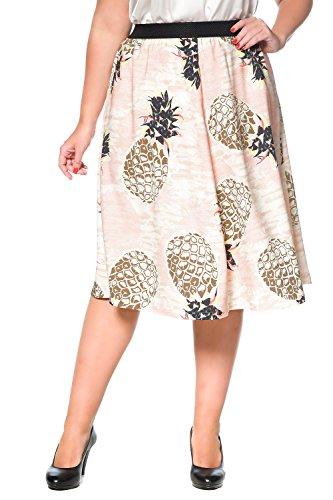 Studio Untold Damen große Größen Rock, Ananas-Druck, Crash, elastischer Bund, ausgestelte Form, Futter 705377 Multicolor