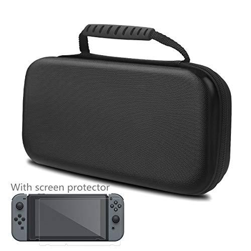 Tasche Kompatibel mit Nintendo Switch und Gehärtetem Glas Displayschutzfolie enthalten - 20 Spiel Patronen Schutzhülle Hartschalen Case Hülle Aufbewahrungstasche für Nintendo Switch Console Zubehör