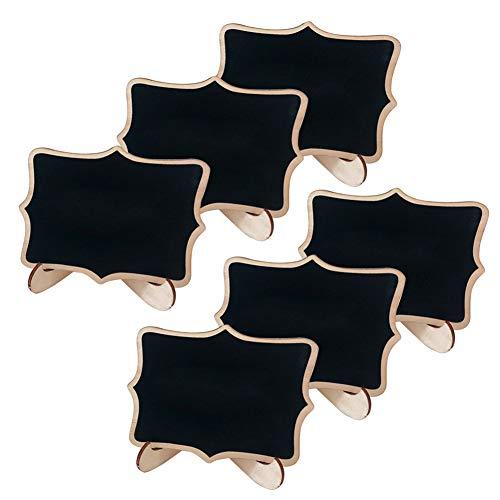 Mini Holz Tafel Set - Mini Kreidetafeln Set Kreidetafel Memotafel mit Stand-Füße als Tischkarte Platzkarte Namen Preis Schild für Landhaus Buffet Party Halloween Weihnachten Deko Vintage Tischdeko (6)