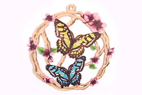 Fensterbild Ostern Frühling - Schmetterlinge im Astrahmen - beidseitig coloriert - Holz ca. 23cm