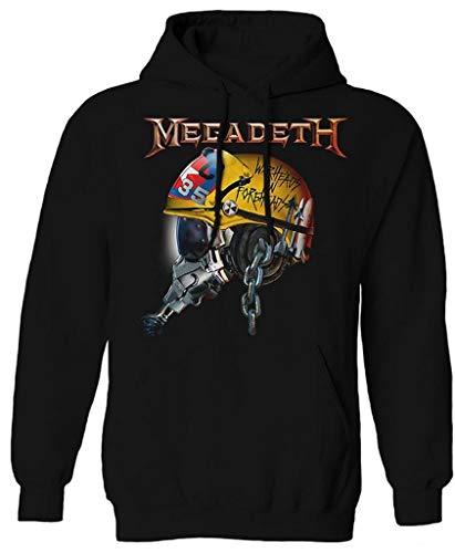 Megadeth 'Full Metal Vic Helmet' (Black) Pull Over Hoodie...
