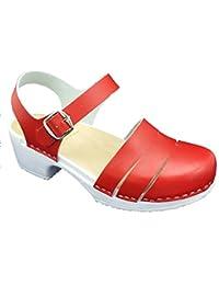 MB Clogs Original Schwedenclogs, Nubuklederclogs Rot - Zuecos de Piel para mujer rojo rojo, color rojo, talla 41 EU