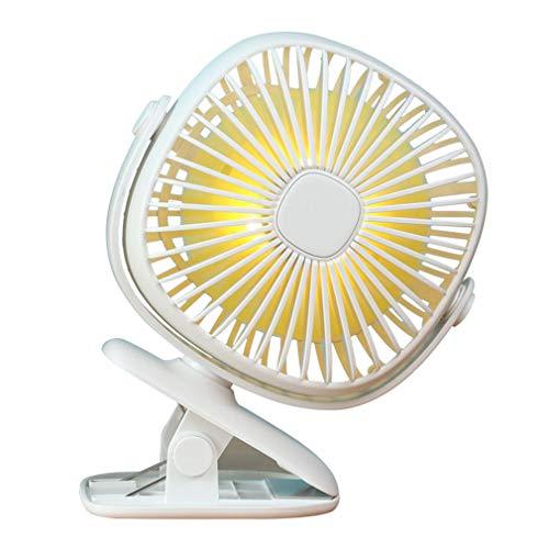 SXXDERTY Clip Recargable USB/Ventilador de Mesa con luz Nocturna 360 Ventiladores de enfriamiento silenciosos Ajustables de 3 velocidades portátiles para Cochecito de bebé en casa