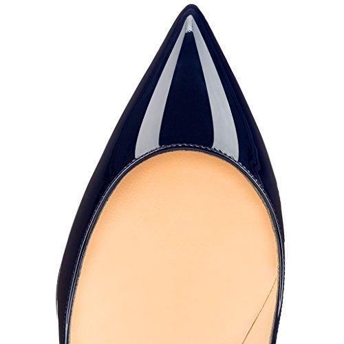 MERUMOTE Damen Gradient Stiletto Spitze Lackleder 10cm High Heel Hochzeit Pumps Schuhe Blau-Lack