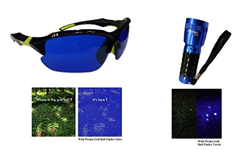 Posma Sgg-050C Balle de golf Finder Lunettes et lampe de poche Ultraviolet UV Lampe de poche Bundle Cadeau de jour et de nuit Boule Hunter Retriever