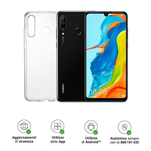 Huawei P30 Lite (Black) Smartphone + cover trasparente, 4GB RAM, memoria espandibile da128 GB, Display 6.15 FHD+, Tripla fotocamera posteriore da 48+8+2 MP, fotocamera anteriore 24 MP [Italia]