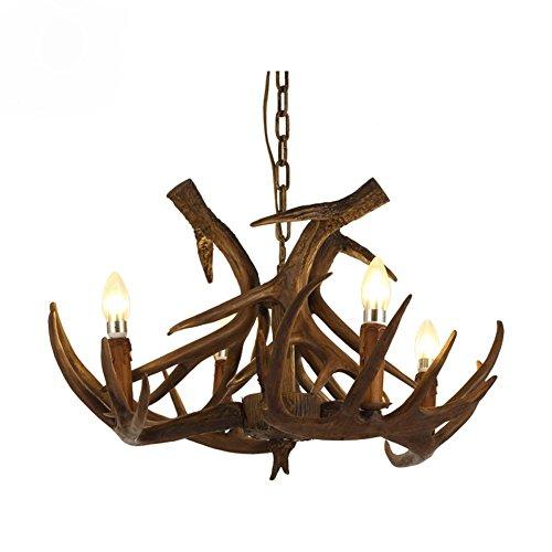 OOFWY Harz-Geweihe-Kerze hängende helle Decken-Lampe Retro- Land-Weinlese-Art-Landhaus-Gaststätte-Gaststätte-Stab-Kaffee-Beleuchtung-Kronleuchter, 4 Kopf