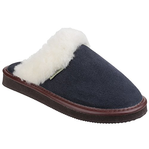 Cotswold Womens/Ladies Radway Lightweight Suede Mule Slippers Bleu Marine