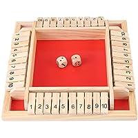 Qwhome Niños Aprendizaje Temprano Tradicional Cierra la Caja Juego Educativo Tablero de Madera Número 4 Jugador Juego de Mesa de Madera Juego de Fiesta Juego Familiar Beber,Red