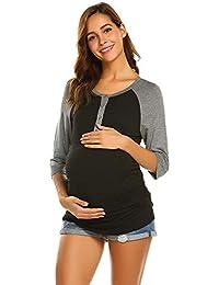 268879ffa953 BOLAWOO Camicia Premaman da Donna Camicia Mode 4 Marca 3 De Infermieristica  Manicotti Camicia Premaman maternità con Bottoni E…
