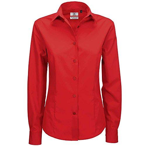 B&C Collection Womens Smart Long Sleeve Shirt Deep red