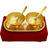 Saudeep India Trading Corporation Metal Snack Bowls, 5-Pieces, Gold & Silver Diwali Dry Fruit Deepawali Gift Platter Kit Decorative Sets Kitchen Dinning Plates Spoon Gift Item Festival
