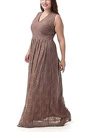 Ghope Femmes Robe maxi-longue moulante extensible bordure festonnée dentelle florale doublée san manches col V grande taille