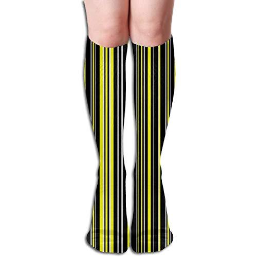 Schwarz, Gelb Und Weiß Barcode Streifen Frauen Rohr Kniehohe Strümpfe Cosplay Socken 50 cm (19,6 zoll)