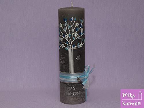 Vintage Taufkerze Kommunionkerze Lebensbaum mit Taube und Satin schleifenband blau 25x7 cm für...