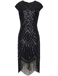 BABEYOND Damen Kleid Retro 1920s Stil Flapper Kleider voller Pailletten Runder Ausschnitt Great Gatsby Motto Party Kleider Damen Kostüm Kleid